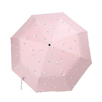 Shirleyle Parasol para mujer paraguas portátil de viaje protector solar Patrón de dibujos animados rosa paraguas
