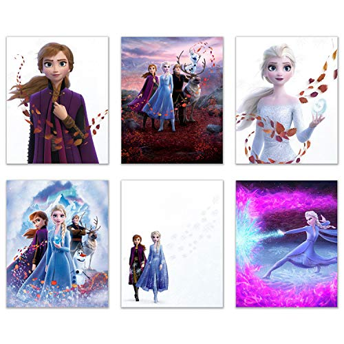 Frozen 2 Movie Prints - Set of 6 (8 inches x 10 inches) Wall Art Decor Poster Photos - Anna Elsa Olaf Kristoff