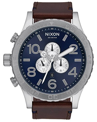 Blue-SunrayBrown-The-51-30-Chrono-Leather-Watch-by-Nixon