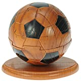 Namesakes Football 3D Wooden Jigsaw Puzzles for Grown Ups & Children : Novelty Brain Teaser Toy for Adults kids & Soccer Fans - Unique Fun Xmas Stocking Fillers + Free Keyring