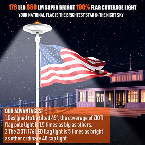 Solar Flag Pole Light 176 LED, 880 Lumens Brightest Solar Powered Flagpole Lights for Most 15 to 25 Ft Flag Poles, 100% Flag Coverage, 6800MAH Downlight Last Up to 10 Hrs, IP67 Waterproof Auto On/Off