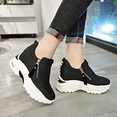 Tacón Tefamore De Negro Cuña Mujer Zapatillas Altas Primavera 6cm Deporte Para verano rz5wrnUPEq