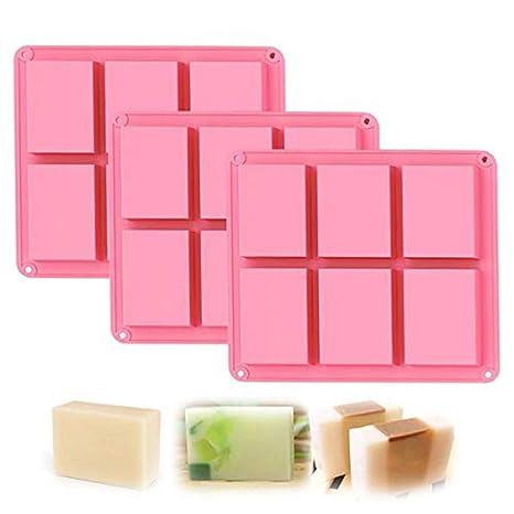 Molde de jabón de silicona, 6 moldes de cavidad para jabón, jabón de silicona