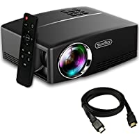 Yaufey 1800 Lumens Portable Projector with Free HDMI Cable, Mini Projector support HD 1080P USB VGA AV, LCD Home Theater Video Projector for Laptop Smartphone TV Games Videos (Bright Black)