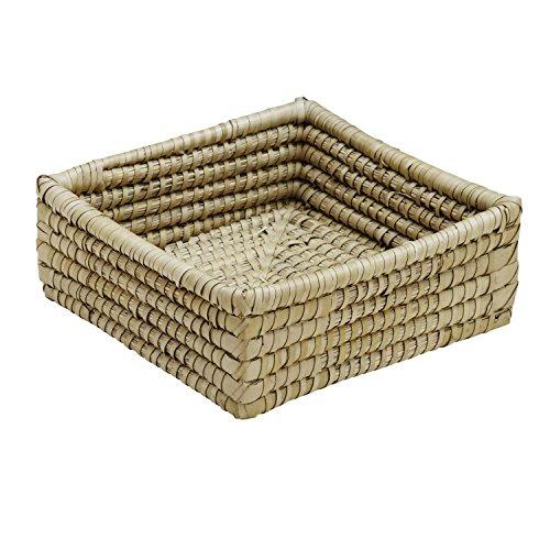 Ten Thousand Villages Natural Woven Kaisa Grass Basket 'Delta Palm Square Basket' ()