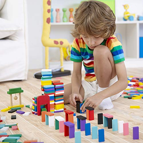 Lewo 1000 Pcs Wooden Dominoes Set for Kids Building Blocks Racing Tile Games with Storage Bag