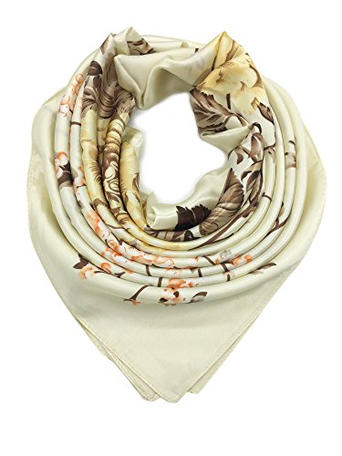 Floral Scarf Pattern - YOUR SMILE Silk Like Scarf Women's Fashion Pattern Large Square Satin Headscarf,Beige
