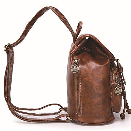 Plover Bolsa de mujer para portátil bolso bandolera College mochila escolar mochila bolsa de hombro marrón