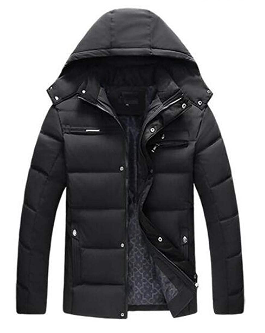 KLJR Men Wear to Work Zip Up Puffer Coats Thick Cotton-Padded Quilted Warm Down Jacket