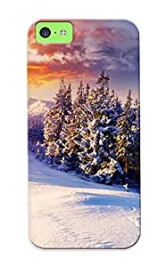 meilinF000Case For ipod touch 5 Tpu Phone Case Cover(sunset Mountains Clouds Landscapes Nature Winter Snow Trees Skyline Hills Sunlight Footprint ) For Thanksgiving Day's GiftmeilinF000