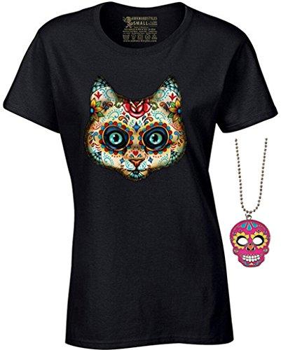 Women's Cat Sugar Skull T-shirt Day of Dead Halloween Shirt + Skull Necklace M Black (Sugar Skull Cat)