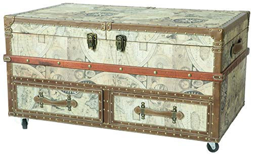 Vintiquewise QI003411L Old World Map Print Coffee End Table and Wine Bar Trunk with Sliding Top and Drawers, Brown (World Furniture Old Imports)