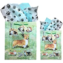 Dog Breed Gift Bags Set of Two with Tissue Paper (Welsh Corgi)
