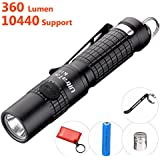 Best Small Flashlight Highest 360 lumens: UltraTac K18 Powerful LED AAA Key Chain Torch Light 4 Modes with Strobe, Support and Include 10440 Rechargeable Battery, USB Recharge Module