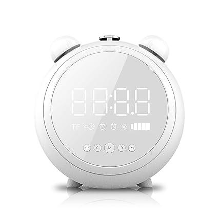 Alarm Clock Bluetooth Speaker Night Light, LED Alarm Clock with FM Radio, Outdoor Wireless Portable Speaker for Bedroom, Camping