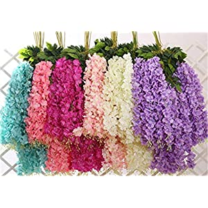 Shop2Beat Realistic Artificial Silk Wisteria Vine Ratta Silk Hanging Flower Plant for Home Party, Wedding Decor and Other Events 6 pcs- (Pink)