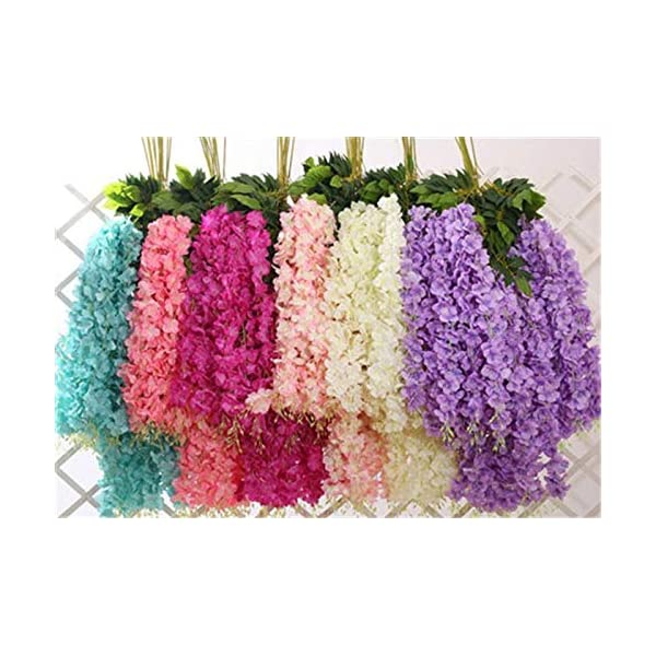 Shop2Beat Realistic Artificial Silk Wisteria Vine Ratta Silk Hanging Flower Plant for Home Party, Wedding Decor and Other Events 6 pcs- (Baby Pink)