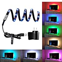 Bias Lighting for HDTV USB LED Strip Lights, BearMoo TV Backlights for PC LCD, Desktop PC Home Theater Accent lighting, Back-lighting ( Multi-Color 35.4 inch Length - USB Charger is Included )