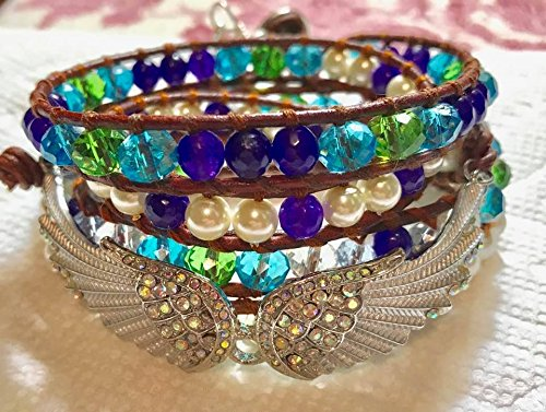 4 Wrap Leather Bracelet, AAA Amethyst Beads, Glass Pearls, Angel Wings & Crystals, Antique Style Tree of Life Button