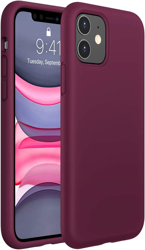 Miracase Liquid Silicone Case Compatible with iPhone 11 6.1 inch(2019), Gel Rubber Full Body Protection Shockproof Cover Case Drop Protection Case (Wine Red)
