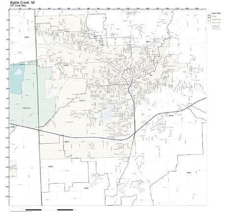 Amazon.com: ZIP Code Wall Map of Battle Creek, MI ZIP Code Map