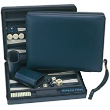 WE Games Blue Magnetic Backgammon Set with Carrying Strap -Travel Size