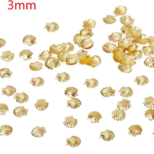 Professional Nail Art Sticker,SMYTShop 100 Piece 3D Metal Nail Art Paillette Gold Silver Color Sea Shell Fish Shape DIY Nail Tips Decoration Manicure Tool (Gold 3mm)