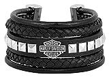 Harley-Davidson Womens Leather Steel Bar & Shield Rope Bracelet, Blk HSB0189 (7)