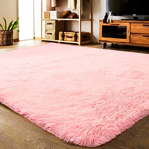 LOCHAS Ultra Soft Indoor Area Rug Thick Shaggy Bedroom Living Room Carpets for Kids Nursery Room, 5.3 x 7.5 Feet Pink