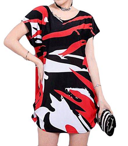 Cromoncent Femmes Ajustement Lâche Plus La Taille Crewneck Impression Changement Mini-robes Noir Rouge