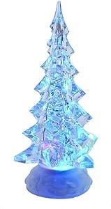 Kurt S. Adler Kurt Adler 10.25-Inch Battery-Operated LED Clear Tree Motion Table Piece, Multi