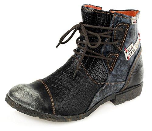 TMA Damen Stiefeletten Leder Boots Schnür Booty Damenschuhe 1877 Schwarz