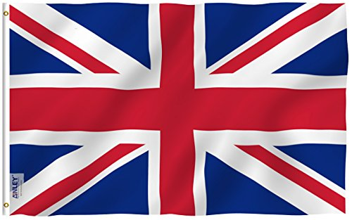 Anley [Fly Breeze 3x5 Foot United Kingdom UK Flag - Vivid Color and UV Fade Resistant - Canvas Header and Double Stitched - British National Flags Polyester with Brass Grommets 3 X 5 Ft