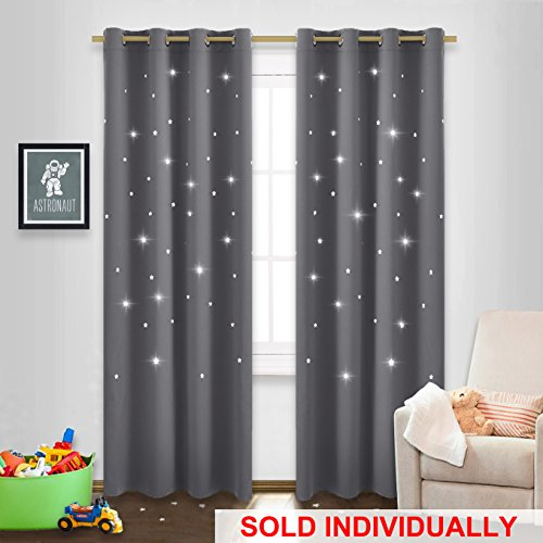 NICETOWN Twinkle Star Curtain for Nursery - Starry Night Sleep-Enhancing Cosmic Themed Curtain Stars, Draft Blocking Blackout Curtain Panel (1...