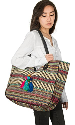 TribeAzure Large Women Shoulder Bag Tote Aztec Handbag Tassel School Everyday Beach Picnic Grocery Laptop Photo #6