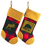 4 Rustic Lodge Black and Red Plaid Moose and Wolf Plush Christmas Stockings