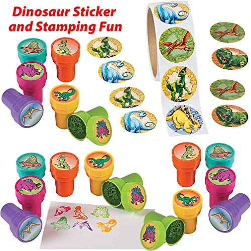 (Dinosaur Stampers and Stickers for Kids Value Pack | 18 Colorful Dinosaur Stampers and 1 Sticker Rolls (100 Stickers) for Boys and Girls | DIY Arts and Craft for Children, Party Favors and Gifts, Good)
