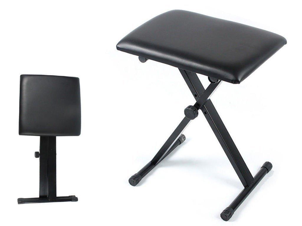 FiNeWaY@ Livivo Black Piano Stool Fully Adjustable Height Pro X Frame Keyboard Bench Seat