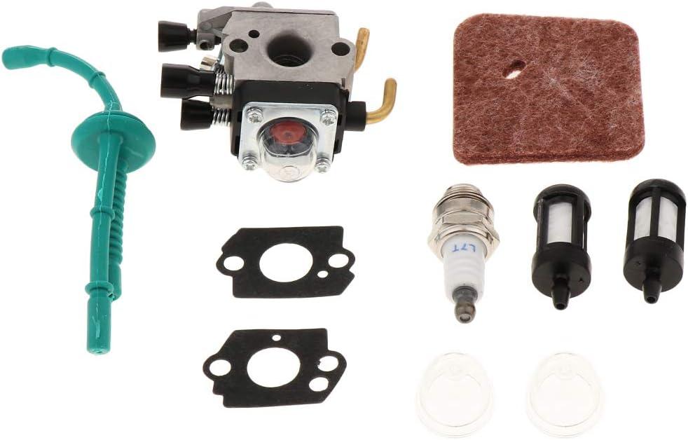 Baoblaze Carburetor with Spark Plug Primer Bulb and Gaskets for Stihl FS38 FS45 FS45C FS46 FS55 KM55 KM55C KM55R KM55RC MM55