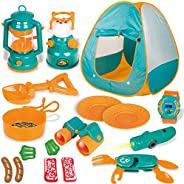 FUN LITTLE TOYS Kids Play Tent, Pop Up Tent with Kids Camping Gear Set, Outdoor Toys Camping Tools Set for Kid