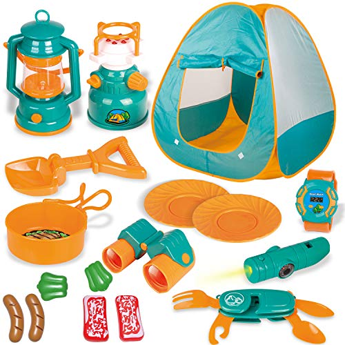 FUN LITTLE TOYS Kids Play Tent, Pop Up Tent with Kids Camping Gear Set, Outdoor Toys Camping Tools Set for Kids, 18…