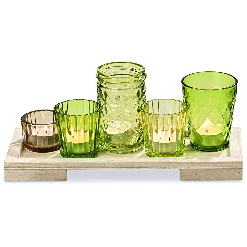 WHW Whole House Worlds The Farmers Market Centerpiece of 5 Votives On A Rectangular Tray, Set of 6, for Candles and Flowers, Rustic Greens and Brown Jelly Jar Glass, 11 - Glass Green Tray