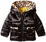 Catherine Malandrino Baby-Girls Puffer Jacket with Leopard Print Trim, Black, 24 Months