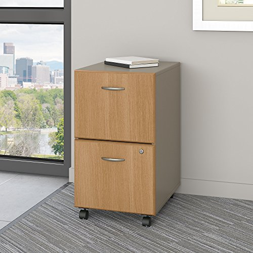 Series A 2 Drawer Mobile File Cabinet in Light Oak and Sage by Bush Business Furniture