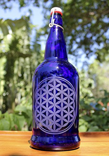 Etched Bottle - 32oz. Flower of Life Etched Cobalt Blue Glass Bottle with Swing-Top Lid