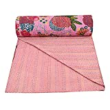 Bohemian Pink Floral Print Handmade Cotton Kantha