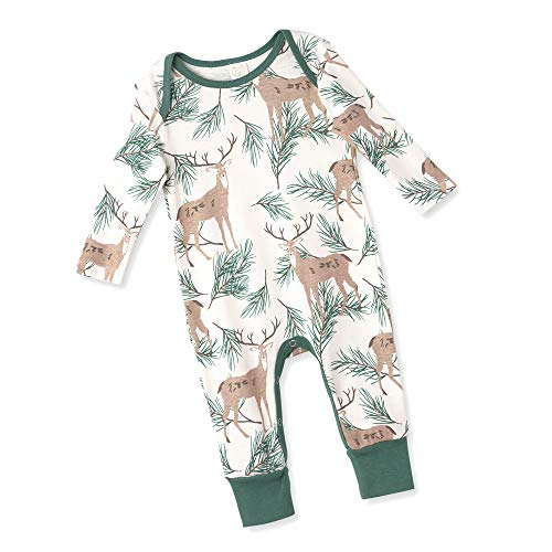 Tesa Babe Baby Boy Romper with Deer Pine Forest Print for Infants in Cotton (Deer Pine, 3-6 Months)