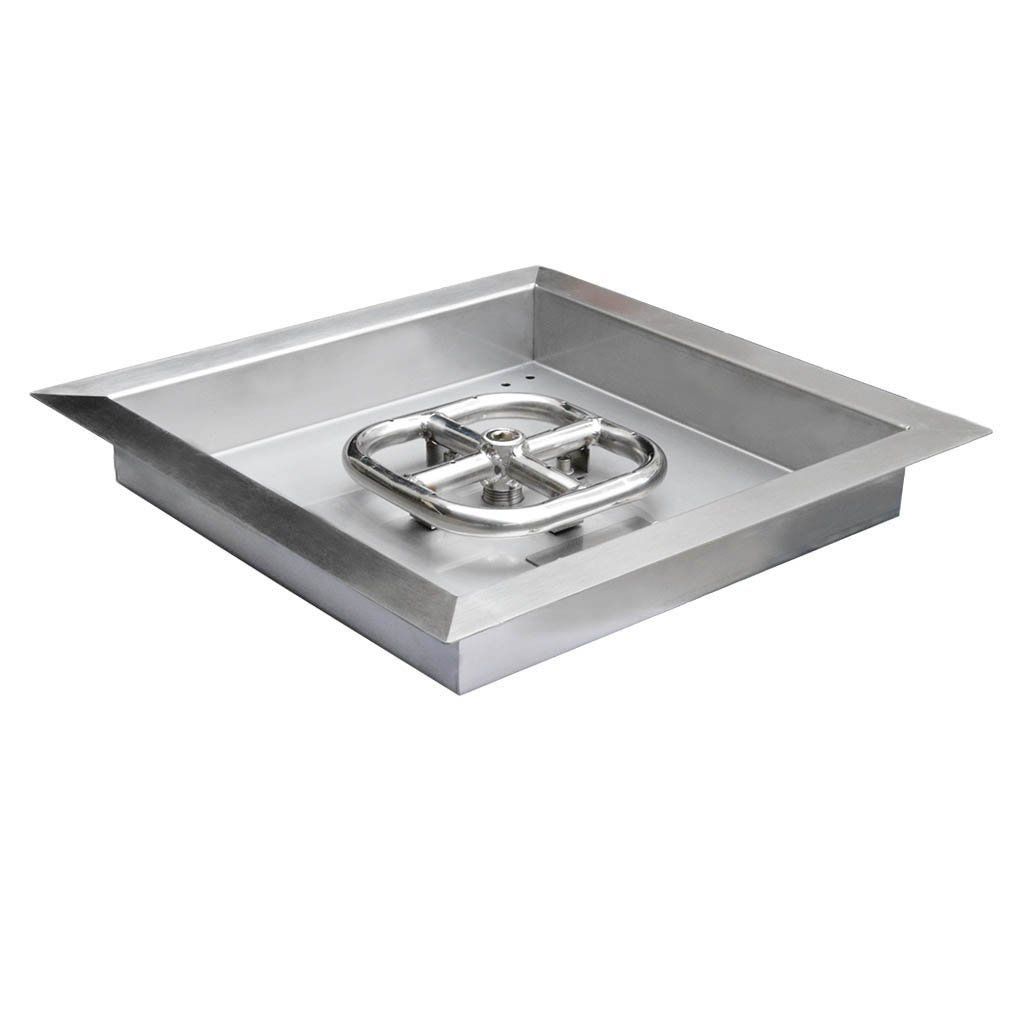 onlyfire Square Stainless Steel Drop-in Fire Pit Burner Ring and Pan Assembly, 12-Inch F-FPR7009-SS-12