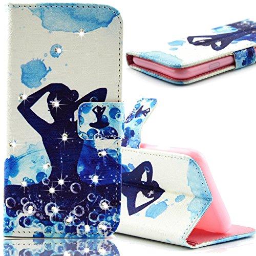 Galaxy S5 Mini Flip Funda, Bonice PU Cuero Monedero Funda Diamante Bling Cierre Magnético Shock-Absorción + TPU Caja Soporte con Ranura Tarjeta Ultra Delgada Estilo Libro para Samsung Galaxy S 5 Mini  Haciendo yoga
