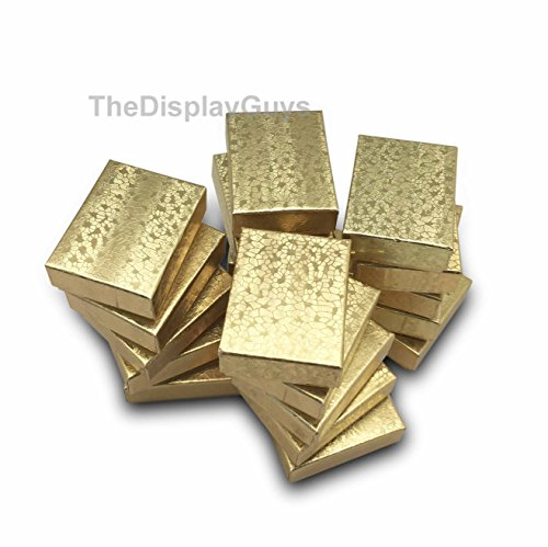 The Display Guys~ Pack of 100 Cotton Filled Cardboard Paper Gold Jewelry Box Gift Case -Gold Foil (2 1/8x1 5/8x3/4 inches #11)]()